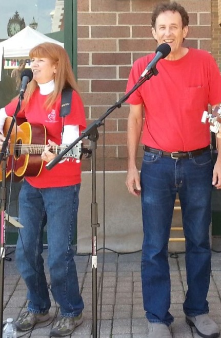 Gloria Burchfeld and Andy Andrick specialize in 60s music and Americana, singing at local venues, at Off Square Music events and at fairs and festivals.