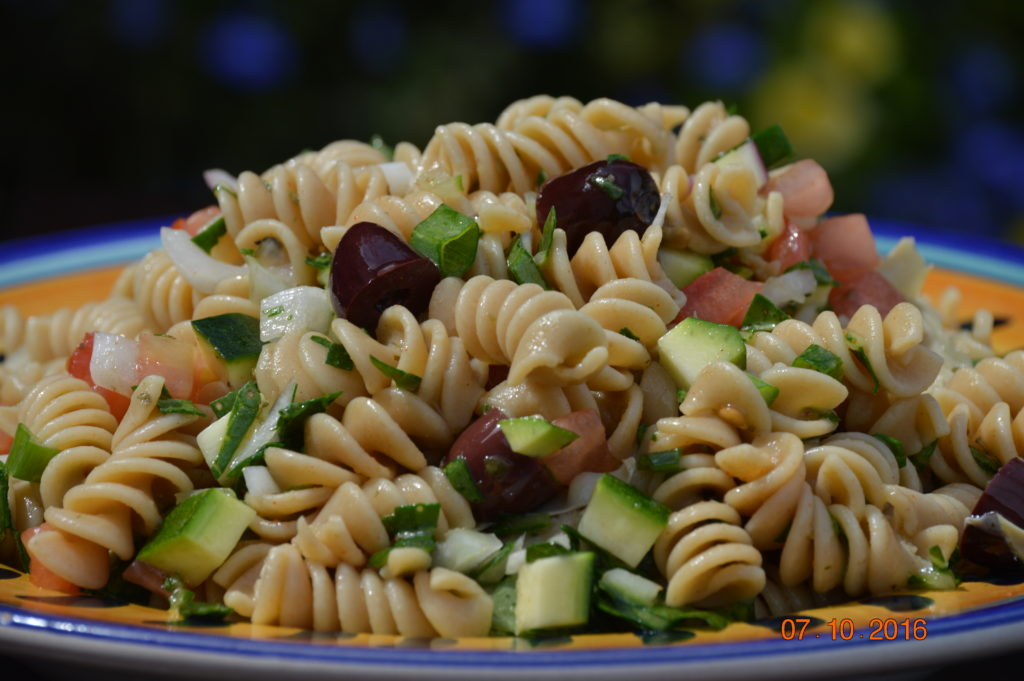 Pasta salad with CSA veggies.