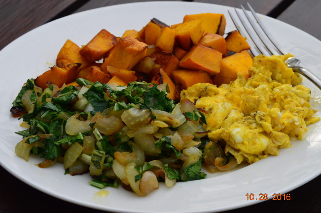 Last but not least...after two years of thinking and experimenting, I decided to add occasional eggs back into our diet, and this is a wonderful plate of stir-fry greens, pan roasted sweet potatoes and scrambled eggs. My decision was based on my thoughts about interdependence, and when I was able to find someone who keeps their chickens (doesn't kill them after their two peak laying years), I decided I would make the pilgrimage out to get eggs periodically and would eat those. I wish I could raise my own! But this is good for now. More about this thought process later.